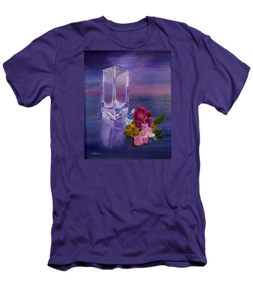 Men's T-Shirt (Slim Fit) featuring the painting Lavender Vase by LaVonne Hand