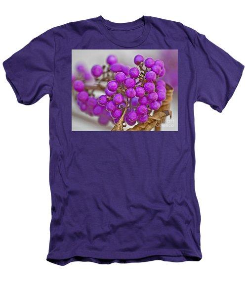 Macro Of Purple Beautyberries Callicarpa Plant Art Prints Men's T-Shirt (Slim Fit) by Valerie Garner