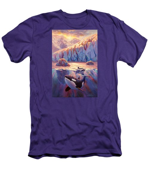 Orca Sunrise At The Glacier Men's T-Shirt (Slim Fit) by Karen Whitworth