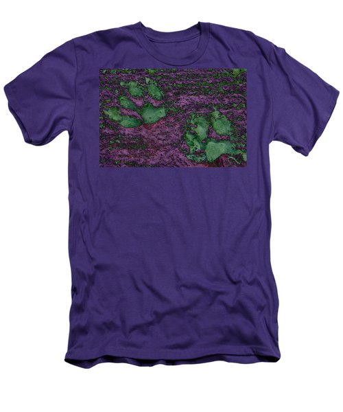 Paw Prints In Green And Mauve Men's T-Shirt (Athletic Fit)