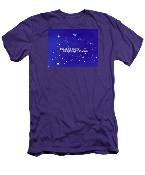 Peace On Earth Card Men's T-Shirt (Slim Fit) by Kathy Barney