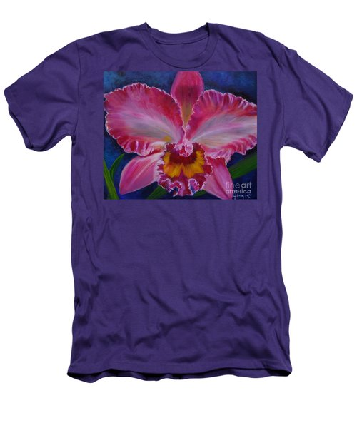 Men's T-Shirt (Slim Fit) featuring the painting Pink Orchid by Jenny Lee