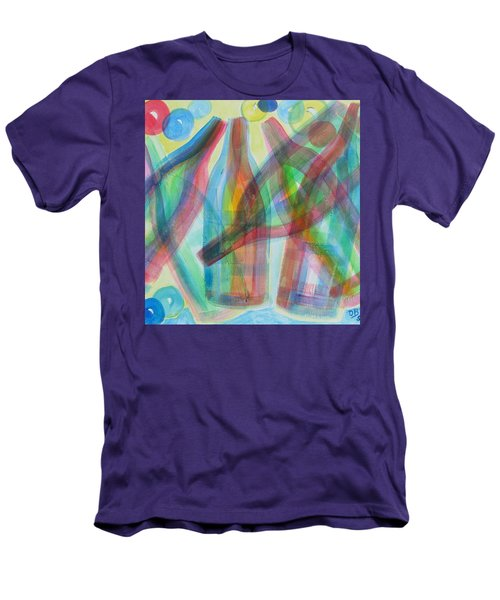 Men's T-Shirt (Slim Fit) featuring the painting Plaid Wine by Diane Pape