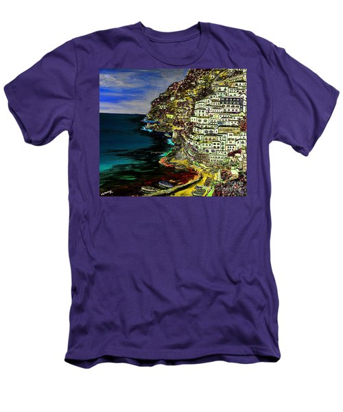 Positano At Night Men's T-Shirt (Slim Fit) by Loredana Messina