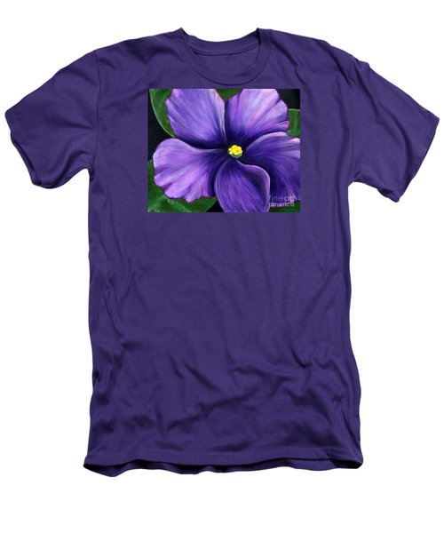 Purple African Violet Men's T-Shirt (Slim Fit) by Barbara Griffin