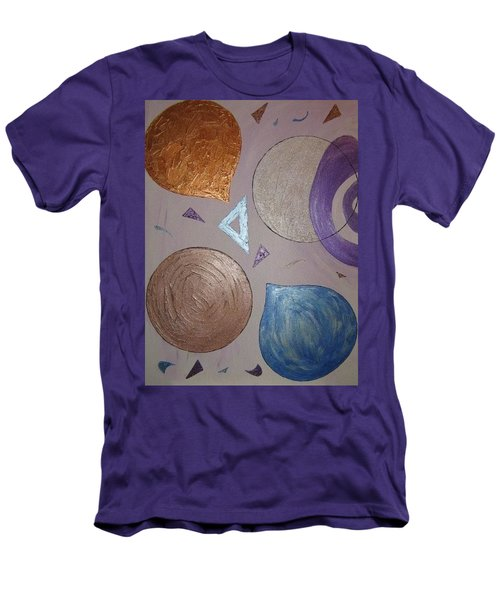Purple And Metallic Shapes Men's T-Shirt (Slim Fit) by Barbara Yearty