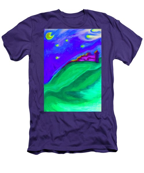 Men's T-Shirt (Slim Fit) featuring the painting Purple Castle By Jrr by First Star Art