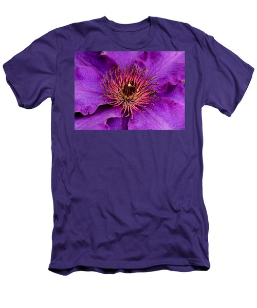 Men's T-Shirt (Slim Fit) featuring the photograph Purple Clematis by Suzanne Stout