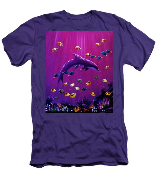 Purple Dolpins Men's T-Shirt (Slim Fit) by Lance Headlee