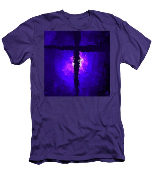 Purple Light Behind The Cross Men's T-Shirt (Athletic Fit)