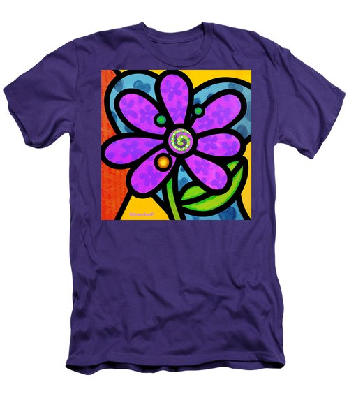 Purple Pinwheel Daisy Men's T-Shirt (Athletic Fit)