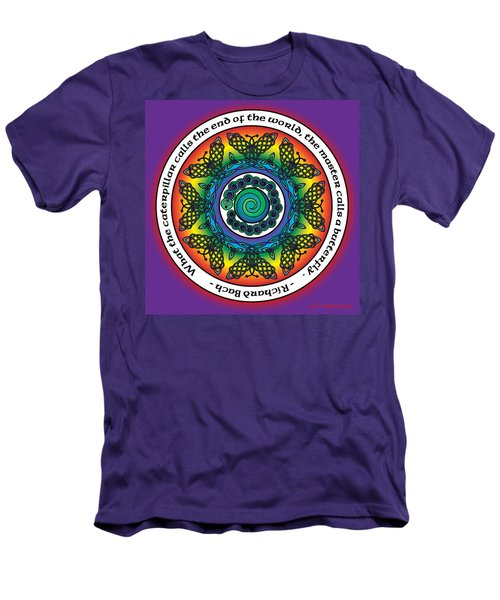 Rainbow Celtic Butterfly Mandala Men's T-Shirt (Athletic Fit)