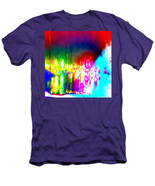 Rainbow Splash Abstract Men's T-Shirt (Athletic Fit)