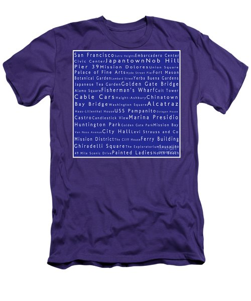 San Francisco In Words Blue Men's T-Shirt (Athletic Fit)