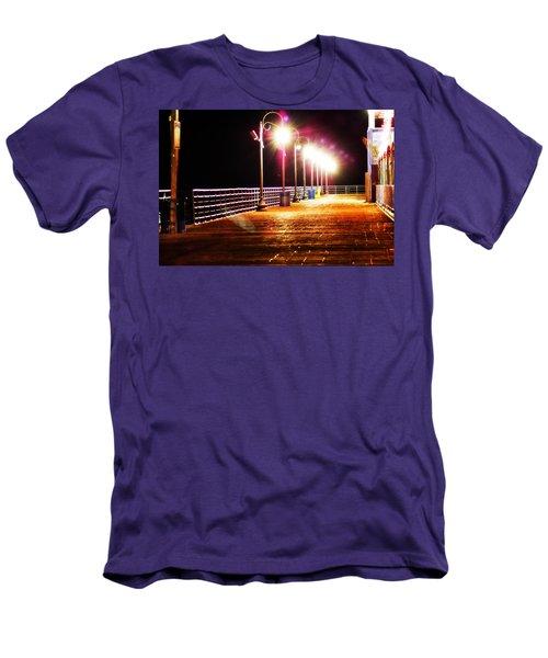 Santa Monica Pier At Night Men's T-Shirt (Athletic Fit)