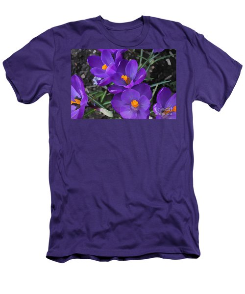 Men's T-Shirt (Slim Fit) featuring the photograph Soft Purple Crocus by Judy Palkimas