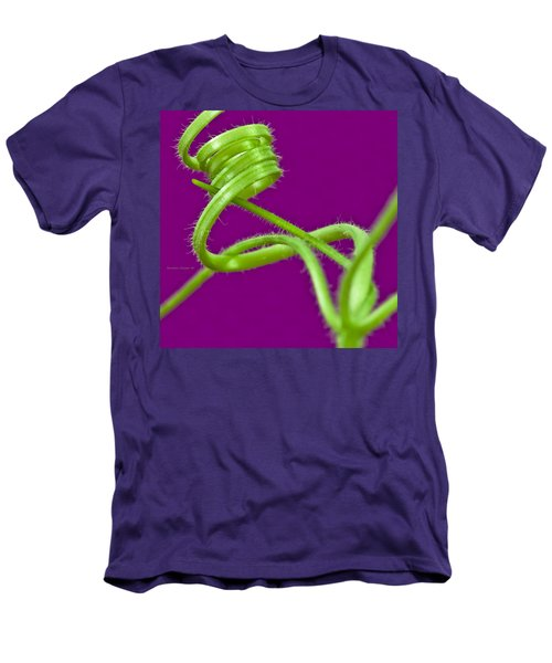 Men's T-Shirt (Slim Fit) featuring the photograph Squash Tendril Macro by Sandra Foster