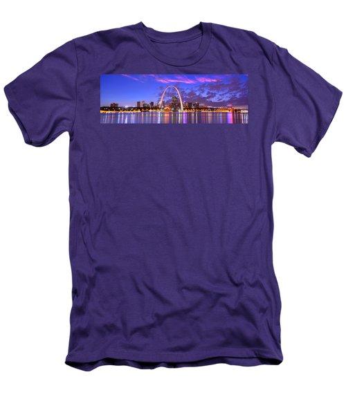 St. Louis Skyline At Dusk Gateway Arch Color Panorama Missouri Men's T-Shirt (Athletic Fit)