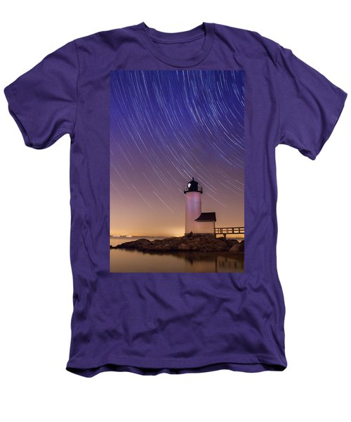 Men's T-Shirt (Slim Fit) featuring the photograph Stars Trailing Over Lighthouse by Jeff Folger