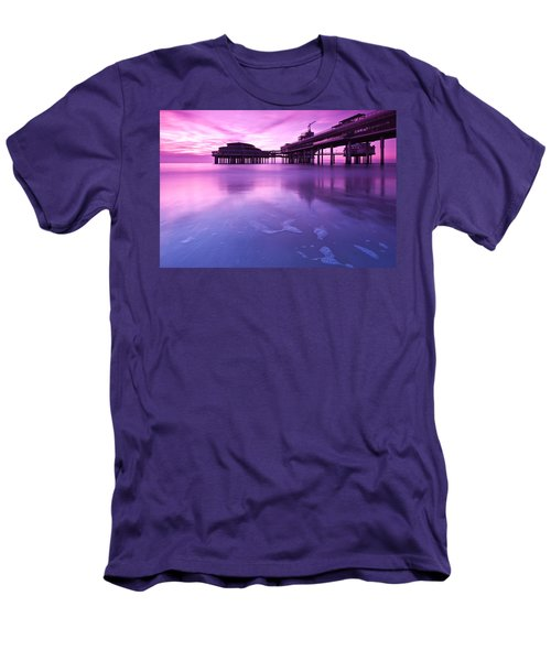 Sunset Over The Pier Men's T-Shirt (Slim Fit) by Mihai Andritoiu