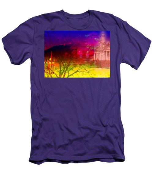 Men's T-Shirt (Slim Fit) featuring the digital art Surreal Buildings  by Cathy Anderson
