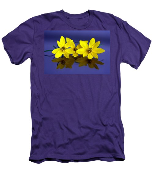 Men's T-Shirt (Slim Fit) featuring the photograph Tickseed Trio by Suzanne Stout