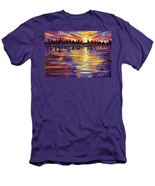 Men's T-Shirt (Slim Fit) featuring the painting Tyler's Sunrise by Tim Gilliland