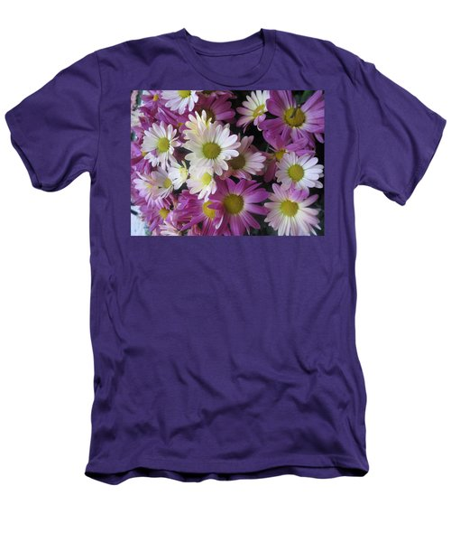 Men's T-Shirt (Slim Fit) featuring the photograph Vegas Butterfly Garden Flowers Colorful Romantic Interior Decorations by Navin Joshi