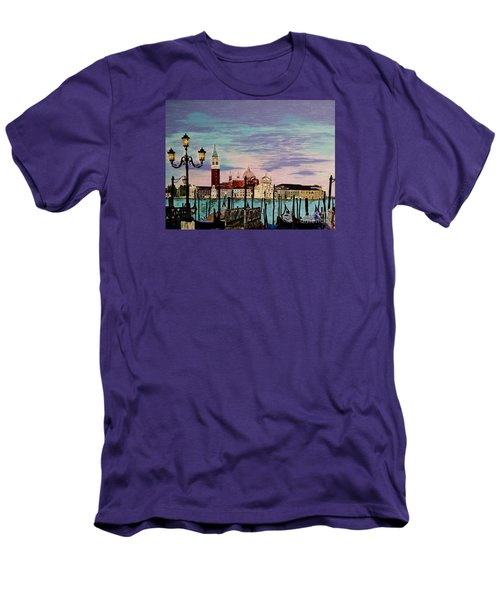 Men's T-Shirt (Slim Fit) featuring the painting Venice  Italy By Jasna Gopic by Jasna Gopic