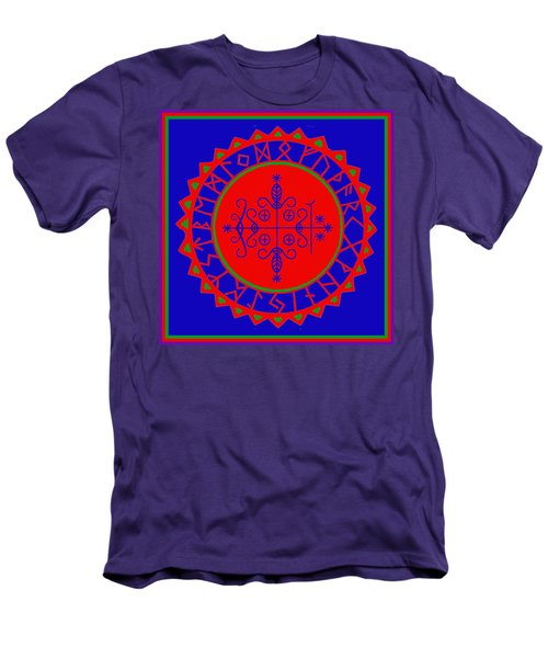 Men's T-Shirt (Slim Fit) featuring the digital art Voodoo Veve  As Above So Below by Vagabond Folk Art - Virginia Vivier