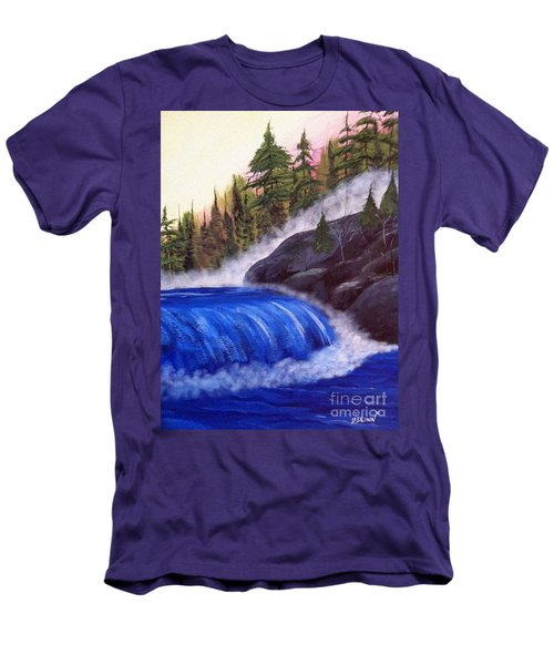 Men's T-Shirt (Slim Fit) featuring the painting Water Fall By Rocks by Brenda Brown