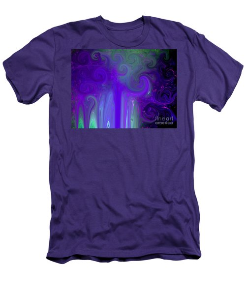 Men's T-Shirt (Slim Fit) featuring the photograph Waves Of Violet - Abstract by Susan Carella