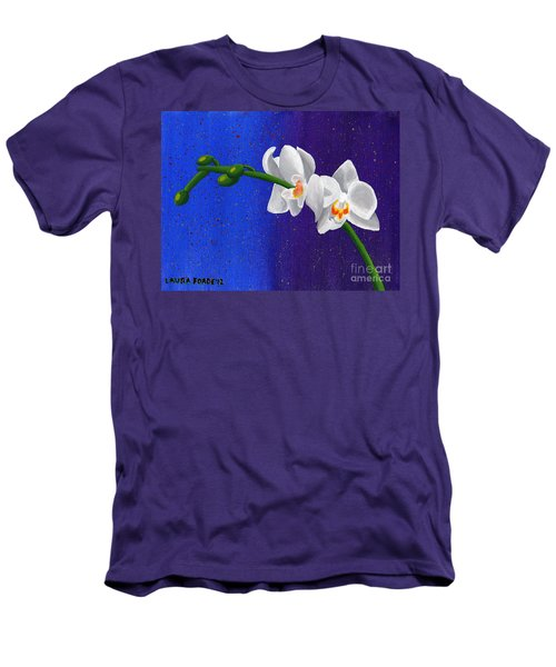 Men's T-Shirt (Slim Fit) featuring the painting White Orchids by Laura Forde