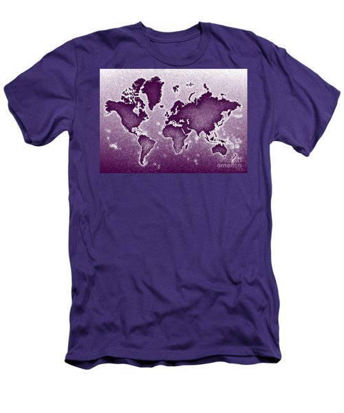 World Map Novo In Purple Men's T-Shirt (Slim Fit) by Eleven Corners