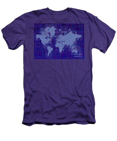 World Map Rettangoli In Blue And White Men's T-Shirt (Slim Fit) by Eleven Corners