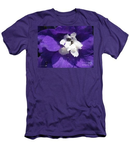 Men's T-Shirt (Slim Fit) featuring the photograph Delphinium Named Blue With White Bee by J McCombie