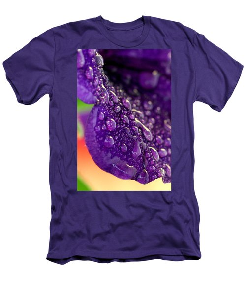 Men's T-Shirt (Slim Fit) featuring the photograph Petunia Raindrops by Suzanne Stout