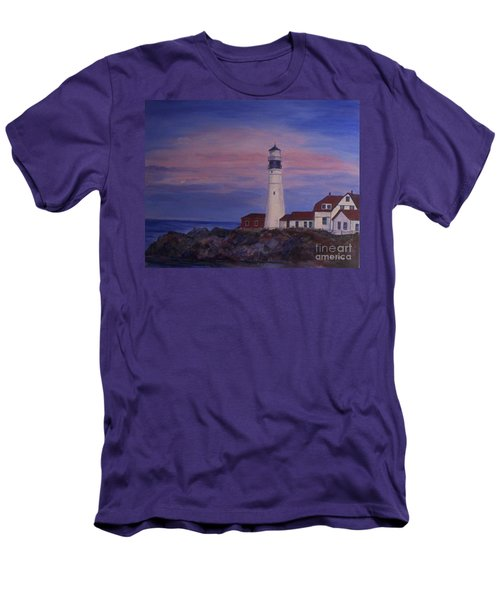 Men's T-Shirt (Slim Fit) featuring the painting Portland Head Lighthouse At Dawn by Julie Brugh Riffey
