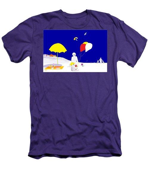 Men's T-Shirt (Slim Fit) featuring the digital art Snowman Family Holiday by Barbara Moignard