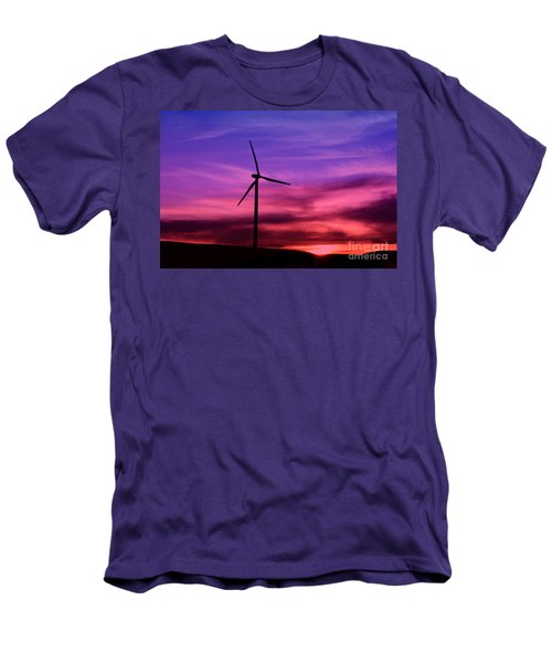Men's T-Shirt (Slim Fit) featuring the photograph Sunset Windmill by Alyce Taylor