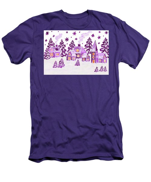 Christmas Picture In Raspberry Pink Colours Men's T-Shirt (Slim Fit) by Irina Afonskaya