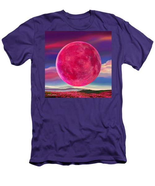 Men's T-Shirt (Slim Fit) featuring the digital art Full Pink Moon by Robin Moline