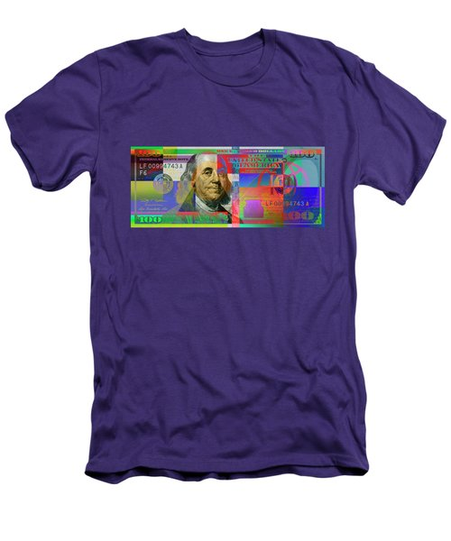 2009 Series Pop Art Colorized U. S. One Hundred Dollar Bill No. 1 Men's T-Shirt (Athletic Fit)
