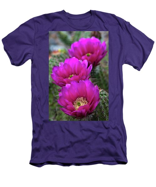 Men's T-Shirt (Slim Fit) featuring the photograph Pink Hedgehog Cactus  by Saija Lehtonen