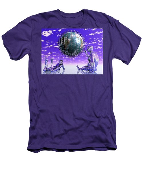 3d Aliens With Caged Earth Men's T-Shirt (Athletic Fit)