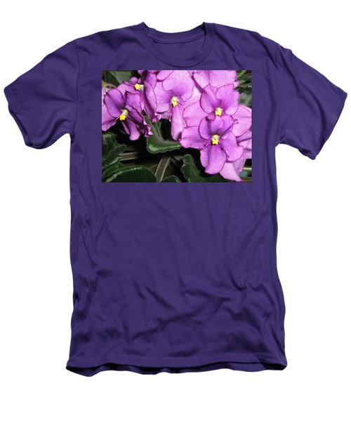 African Violets Men's T-Shirt (Slim Fit) by Barbara Yearty