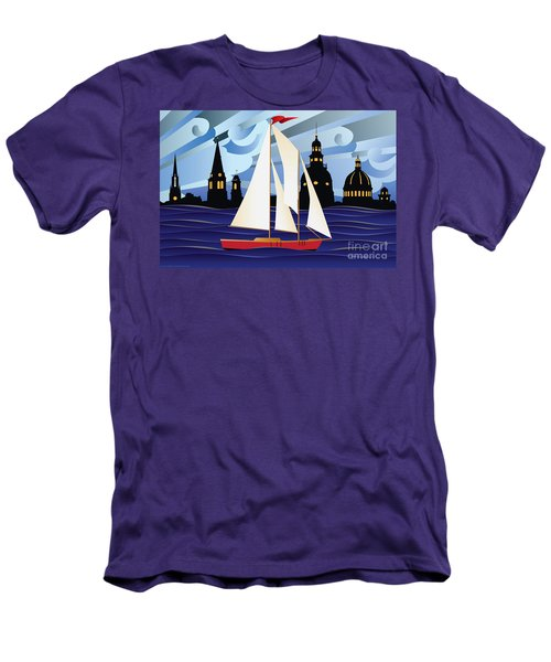 Annapolis Skyline Red Sail Boat Men's T-Shirt (Athletic Fit)