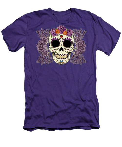 Vintage Sugar Skull And Roses Men's T-Shirt (Slim Fit) by Tammy Wetzel