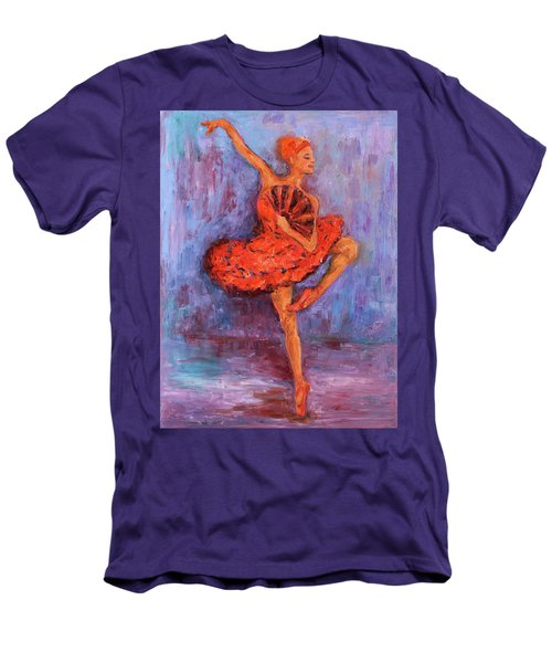 Men's T-Shirt (Athletic Fit) featuring the painting Ballerina Dancing With A Fan by Xueling Zou