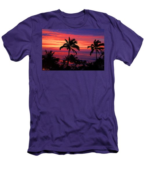 Beautiful Hawaiian Sunset Men's T-Shirt (Slim Fit) by Michael Rucker